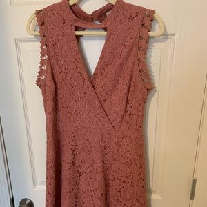 Francesca's Surplice Lace Dress